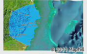 Political Shades 3D Map of Stann Creek, satellite outside