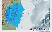 Political Shades 3D Map of Stann Creek, semi-desaturated