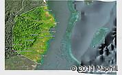 Satellite 3D Map of Stann Creek, semi-desaturated