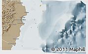 Political 3D Map of Isla, semi-desaturated