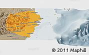 Political Panoramic Map of Stann Creek, semi-desaturated