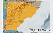 Political 3D Map of Toledo, semi-desaturated