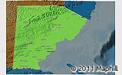 Political Shades 3D Map of Toledo, darken