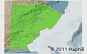 Political Shades 3D Map of Toledo, semi-desaturated