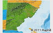 Satellite 3D Map of Toledo, political outside