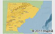Savanna Style 3D Map of Toledo, single color outside