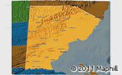 Political 3D Map of Toledo, darken