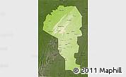 Physical 3D Map of Atakora, darken