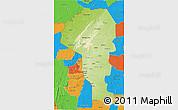 Physical 3D Map of Atakora, political outside
