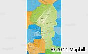 Physical 3D Map of Atakora, political shades outside
