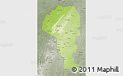 Physical 3D Map of Atakora, semi-desaturated