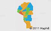 Political 3D Map of Atakora, cropped outside
