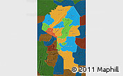 Political 3D Map of Atakora, darken