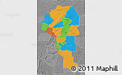 Political 3D Map of Atakora, desaturated