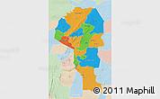 Political 3D Map of Atakora, lighten