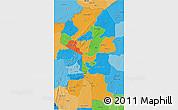 Political 3D Map of Atakora, political shades outside