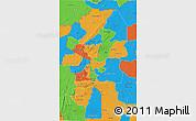 Political 3D Map of Atakora
