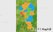 Political 3D Map of Atakora, satellite outside