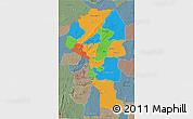 Political 3D Map of Atakora, semi-desaturated