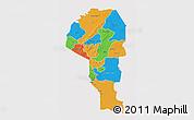 Political 3D Map of Atakora, single color outside
