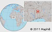 Gray Location Map of Djougou Rural