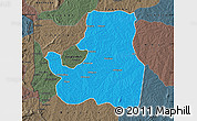 Political Map of Djougou Rural, darken, semi-desaturated