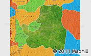 Satellite Map of Djougou Rural, political outside