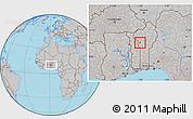 Gray Location Map of Djougou Urban