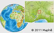 Physical Location Map of Djougou Urban