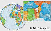 Political Location Map of Djougou Urban, highlighted parent region