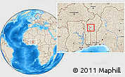 Shaded Relief Location Map of Djougou Urban