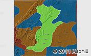 Political 3D Map of Kouande, darken