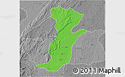 Political 3D Map of Kouande, desaturated