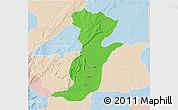 Political 3D Map of Kouande, lighten