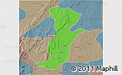 Political 3D Map of Kouande, semi-desaturated