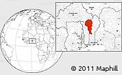 Blank Location Map of Atakora