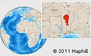 Shaded Relief Location Map of Atakora