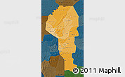 Political Shades Map of Atakora, darken