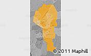 Political Shades Map of Atakora, desaturated