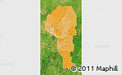 Political Shades Map of Atakora, satellite outside