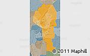 Political Shades Map of Atakora, semi-desaturated