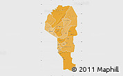 Political Shades Map of Atakora, single color outside