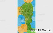 Satellite Map of Atakora, political shades outside