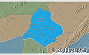 Political 3D Map of Materi, semi-desaturated