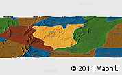 Political Panoramic Map of Natingou, darken