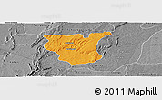 Political Panoramic Map of Natingou, desaturated