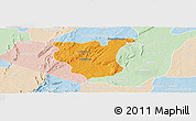 Political Panoramic Map of Natingou, lighten