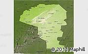 Physical Panoramic Map of Atakora, darken