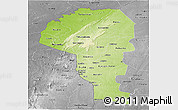 Physical Panoramic Map of Atakora, desaturated