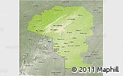 Physical Panoramic Map of Atakora, semi-desaturated